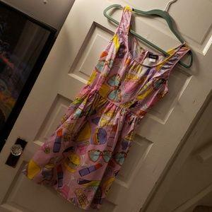 Pink retrolicious modcloth dress pockets sz s